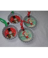 Lot of 4 Hallmark Large Metal Bottle Cap with Snowman or Cooking Penguin... - $12.19