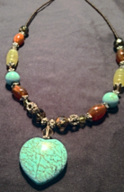 Jan Michaels Turquoise Heart Pendant Multi Colored Beaded Necklace  - $48.00