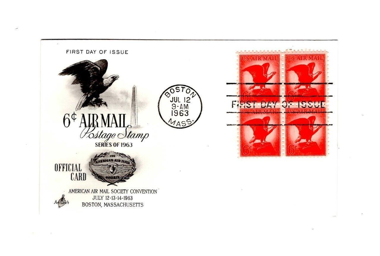POSTCARD-FDC 6 CENT AIR MAIL POSTAGE STAMP BL4 1963 ART CRAFT CACHET BK12