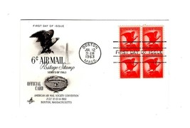 POSTCARD-FDC 6 CENT AIR MAIL POSTAGE STAMP BL4 1963 ART CRAFT CACHET BK12 - $2.45