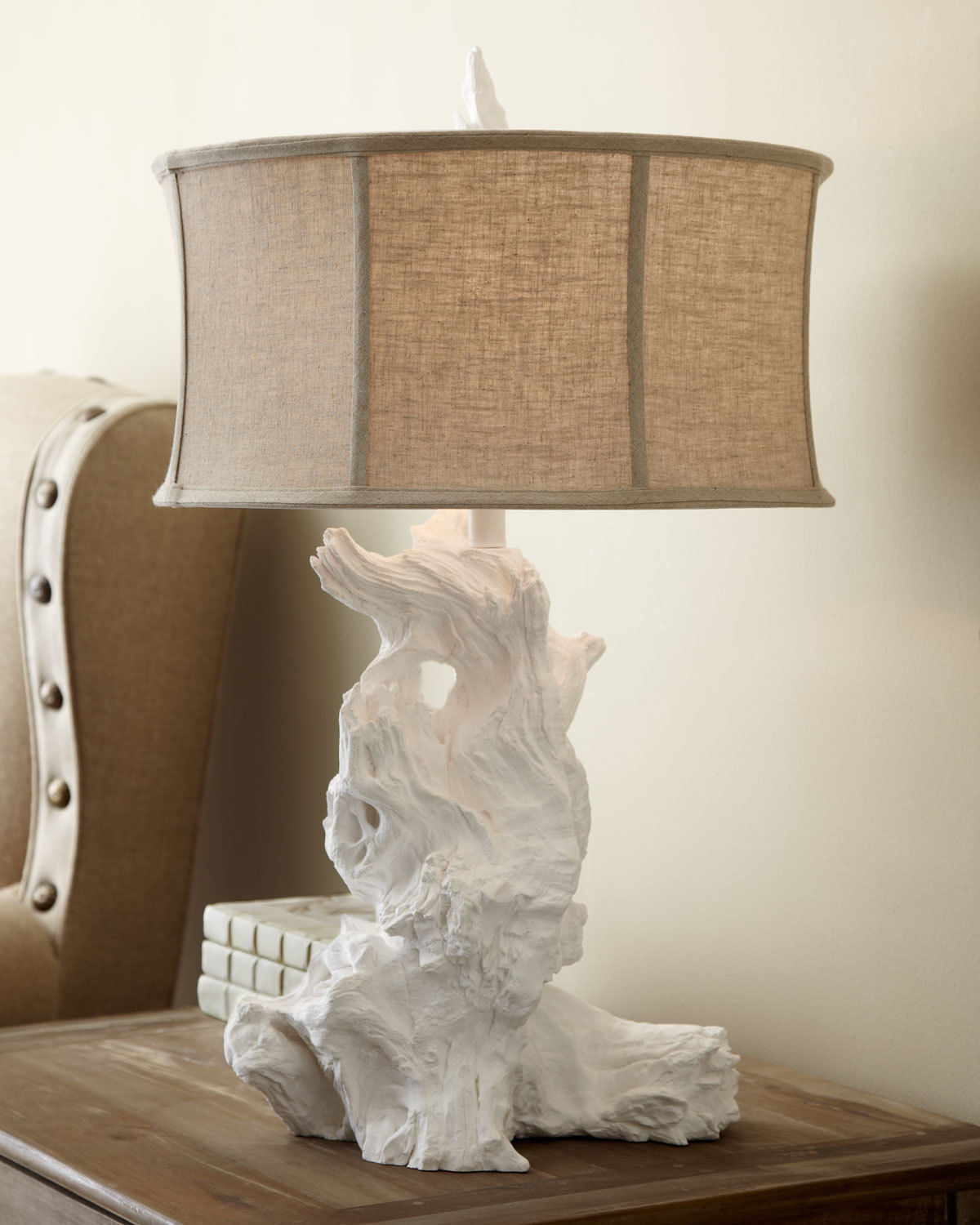 NEW HORCHOW White Driftwood Table Lamp Cyan Design 4438 Modern Organic Coastal - $331.65