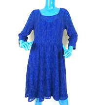 Free People Blue Lace Victorian Boho Dress L 12 14 Stretch 3/4 Sleeves C... - $34.64