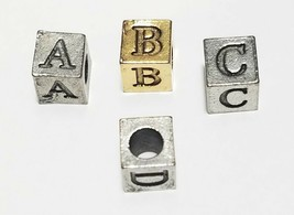 Alphabet Fine Pewter Bead, Approx. 5.5mm Cube, 3mm Hole image 2