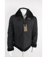 Zara Man Faux Suede Coat Jacket Black Double Faced Faux Fur Collar 4341/... - $161.10