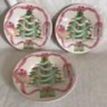 "Sango Home for Christmas 3 Replacement Saucers 6.5"" EUC Pink Ribbons & Bows - $14.84"