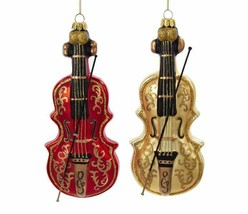 "Kurt Adler Set Of 2 Hand Blown 7.5"" Red / Gold Glass Violin Christmas Ornaments - $26.88"
