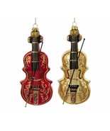 "KURT ADLER SET OF 2 HAND BLOWN 7.5"" RED / GOLD GLASS VIOLIN CHRISTMAS OR... - $26.88"