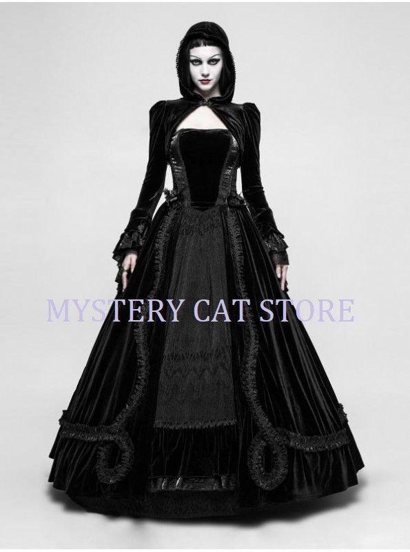 c90f0fdb29167 S l1600. S l1600. Previous. New PUNK RAVE Gothic Wedding Ball Velvet Lace Dress  Black Q-339 ...