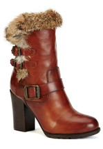 New in Box - $498 FRYE Penny Redwood Rabbit Fur/Leather Boots Size 7 - $197.99