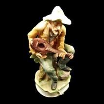 "Wales 7 3/4"" Old Gentleman Musician Playing Lute Guitar Porcelain Figuri... - $29.69"