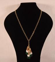 J Crew Gold Chain Green White Seed Bead Long Tassel Fringe Necklace Boho... - $25.74