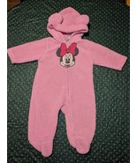 Baby Girls Disney 9 Month Minnie Mouse Fleece Bodysuit One Piece Jump Suit - $17.42