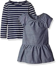 Nautica Little Girl's 2-Piece Chambray Dress with Striped Long Sleeve Shirt (5)