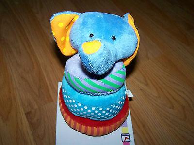 Garanimals Wood & Plush Elephant Stacker Infant Baby Toy Bright Colors New  - $15.00