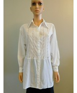Vintage Russian White Cotton Blouse Shirt Yeletsky Lace M L - $48.00
