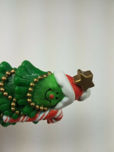 1981 Hallmark Holiday Christmas Pin Smiling Christmas Tree w/ Candy Cane image 3