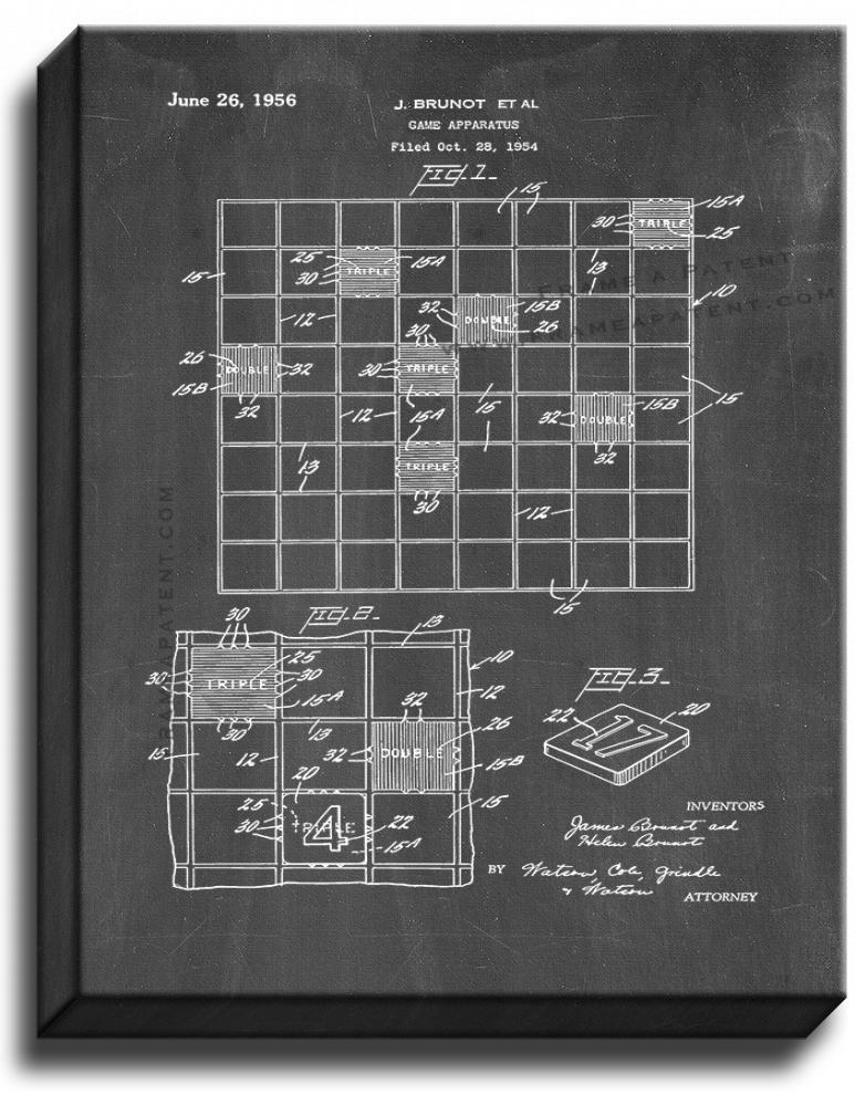 Primary image for Scrabble Game Patent Print Chalkboard on Canvas