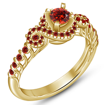 Beautiful Engagement Women's Ring In Red Garnet 14k Gold Plated Pure 925... - $77.99