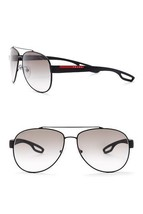 NEW Authentic PRADA Sports Linea Rossa PS55Q Sunglass Black/Grey DG0-0A7... - $148.37