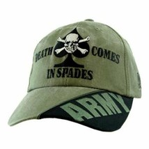 NEW U.S. Army Death Comes in Spades Baseball cap hat. OD Green. 5671. - $12.99