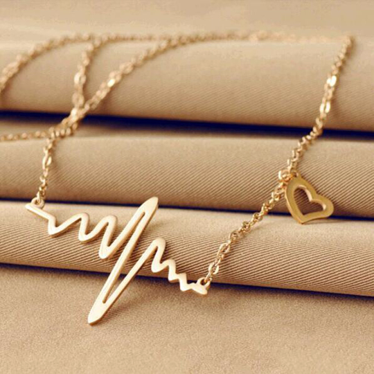 Golden Pendant Charm EKG Necklace Heart Love