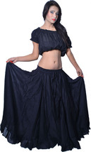 15 Yard cotton belly Dance Flaire Skirt Black - $26.46