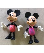 "2 Disney Minnie & Mickey Mouse Toy Figures Hard Plastic 2011 Mattel 5.5""... - $12.86"