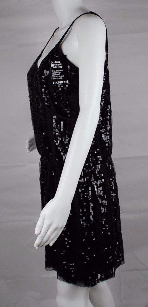 Express women's dress sequin sleeveless black party dress size M image 8