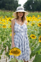 Anthropologie Boho Charmed Dress Medium / Large 6 8 10 12 Blue White Pla... - $75.65