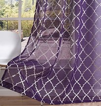 Kotile Purple Sheer Curtains - Silver Moroccan Trellis Grommet Sheer Cur... - $27.11