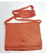 Trafalgar Knit Crossbody Bag Travel Purse Foldover Flap Apricot Unlined - $19.99