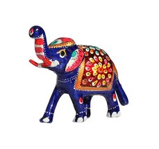 Trunk-Up Good Luck Elephant Sculpture - Metal Figurine with Meenakari Wo... - $22.76