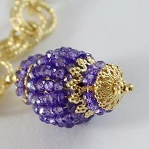 SILVER 925 NECKLACE YELLOW GOLD PLATED WITH HANGING CHARM MILLED AND AMETHYST image 3