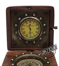 Valentine Victoria Shelf Clock Vintage Compass-Clock Retro Table Top Woo... - $33.87