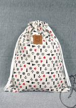 Anchor bag drawstring bag Canvas Cotton Backpack Beach bag Laptop bag Ha... - €13,23 EUR