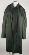 London Fog Army Green Mens Size 46 Trench Coat Removable Faux Fur Liner EUC - $46.74