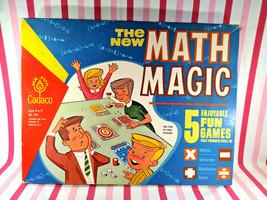 Wonderful Vintage 1968 The NEW Math Magic Cadaco 5 Math Game Box Set Fun Graphic - $40.00
