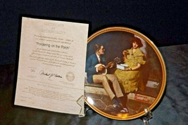 """""""Pondering on the Porch"""" by Norman Rockwell Plate with Box AA20-CP2220B Vintage image 2"""