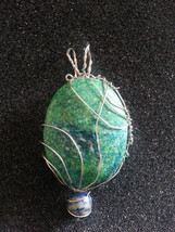 Chrysoprase and Lapis Lazuli gemstone wire wrapped pendant with chord - $55.00