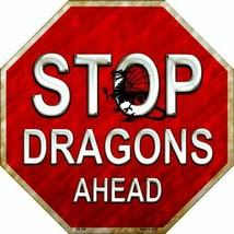 "Stop Dragons Ahead Halloween Humor Metal Sign 12"" Wall Decor - DS - $23.95"