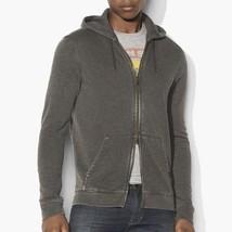 John Varvatos Star USA Men's Zip Front Burnout Hoodie Army Green $148 ms... - $108.90