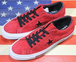 Converse One Star Ox Low Sample Vintage Red Black Suede Shoes [163246C] Men's 9 - $88.88