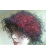 Avant Garde Flapper Hat Art Deco Look Red Purple Black String Feather Vi... - $40.00