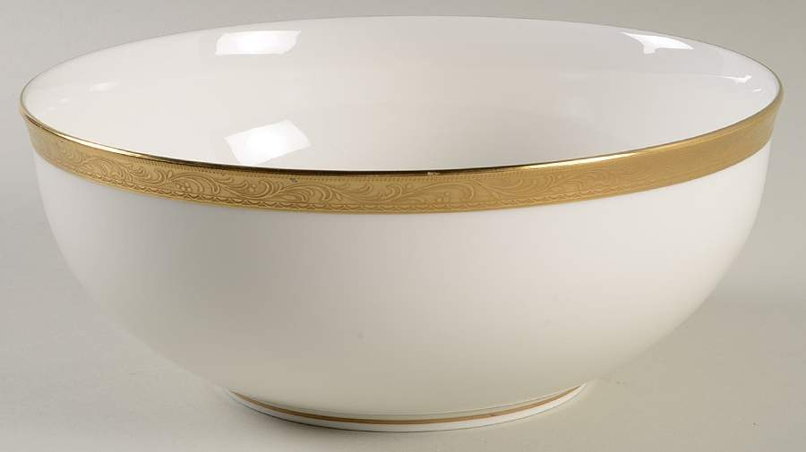 "Mikasa® ""Crown Jewel"" GOLD 30 PC DINNER SET FOR 6 W/SERVING BONE CHINA WHITE NEW"