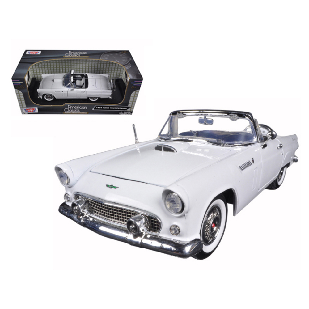 1956 Ford Thunderbird Convertible White 1/18 Diecast Model Car by Motormax 73173