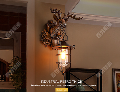 Vintage Stag Head Deer Wall Ornament Sconce E27 Light Lamp Home Lighting Fixture