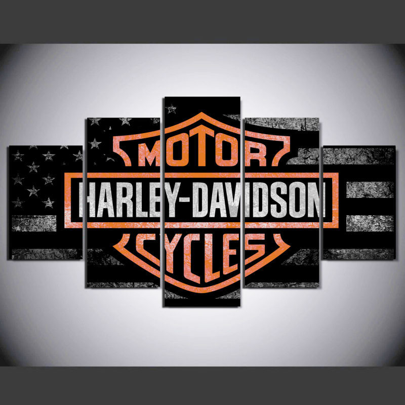 5pcs Harley Davidson Motorcycles Logo Printed Canvas Wall Art Picture Home Decor for sale  USA