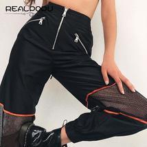 Waatfaak Zipper Split Elastic High Waist Long Pants Patchwork Hollow Out... - $39.72