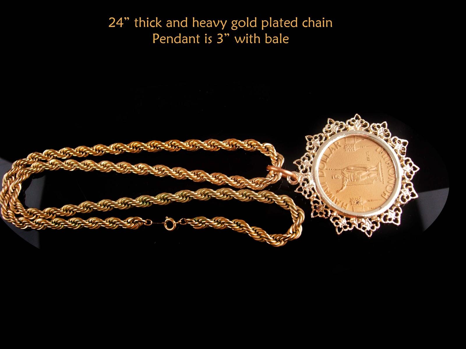 vintage Hawaii Dollar pendant - coin necklace - honeymoon gift - anniversary uni
