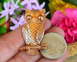 Vintage Solid Copper Owl Tree Branch Brooch Pin Bell Trading Post USA image 4
